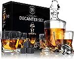 Premium Glass Decanter Set, Whiskey Decanter Set 4 Liquor Glasses, Mens