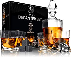 Premium Glass Decanter Set, Whiskey Decanter Set 4 Liquor Glasses, Mens Gift 9 Cooling Whisky Stones and Funnel for Rum, Scotch, Bourbon, Whisky, Crystal Clear Liquor Decanter Drinking Set (Glass)