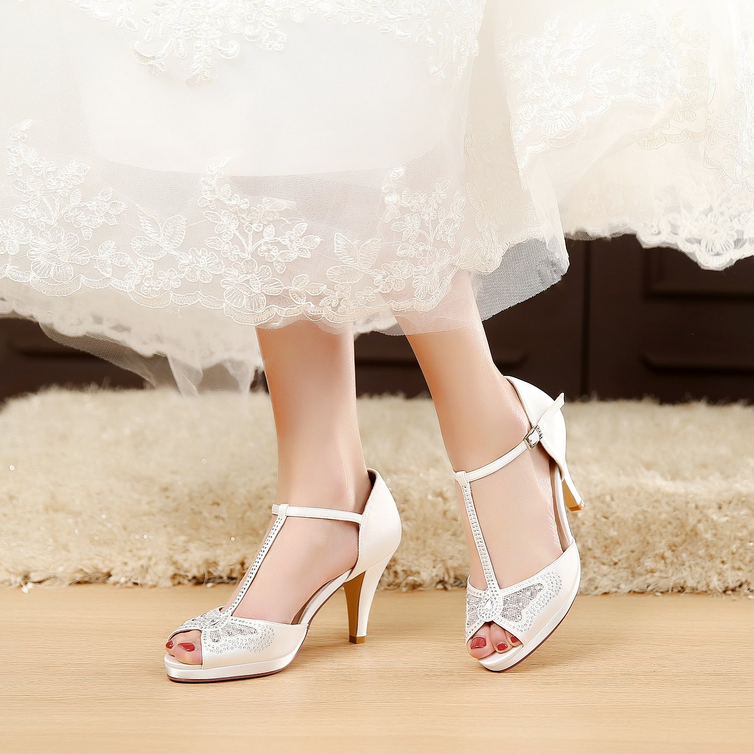 LUXVEER Wedding Sandals Heels for Women ,Silver Rhinestone and Lace Butterfly - Heels 3.5 inch-HK-0192C-Ivory-EU40 Wedding Shoes by LUXVEER (Image #2)