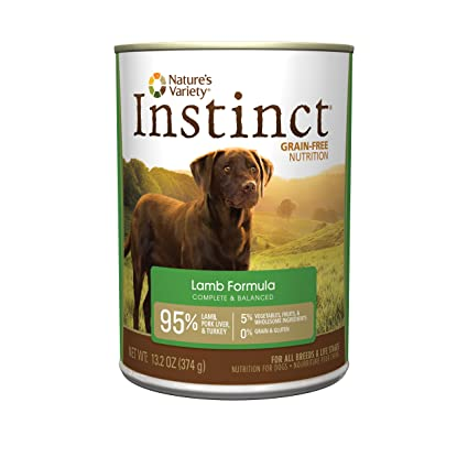 NatureS Variety Instinct Grain Free Lamb Formula Natural Wet Canned Dog Food By, 13.2 Oz