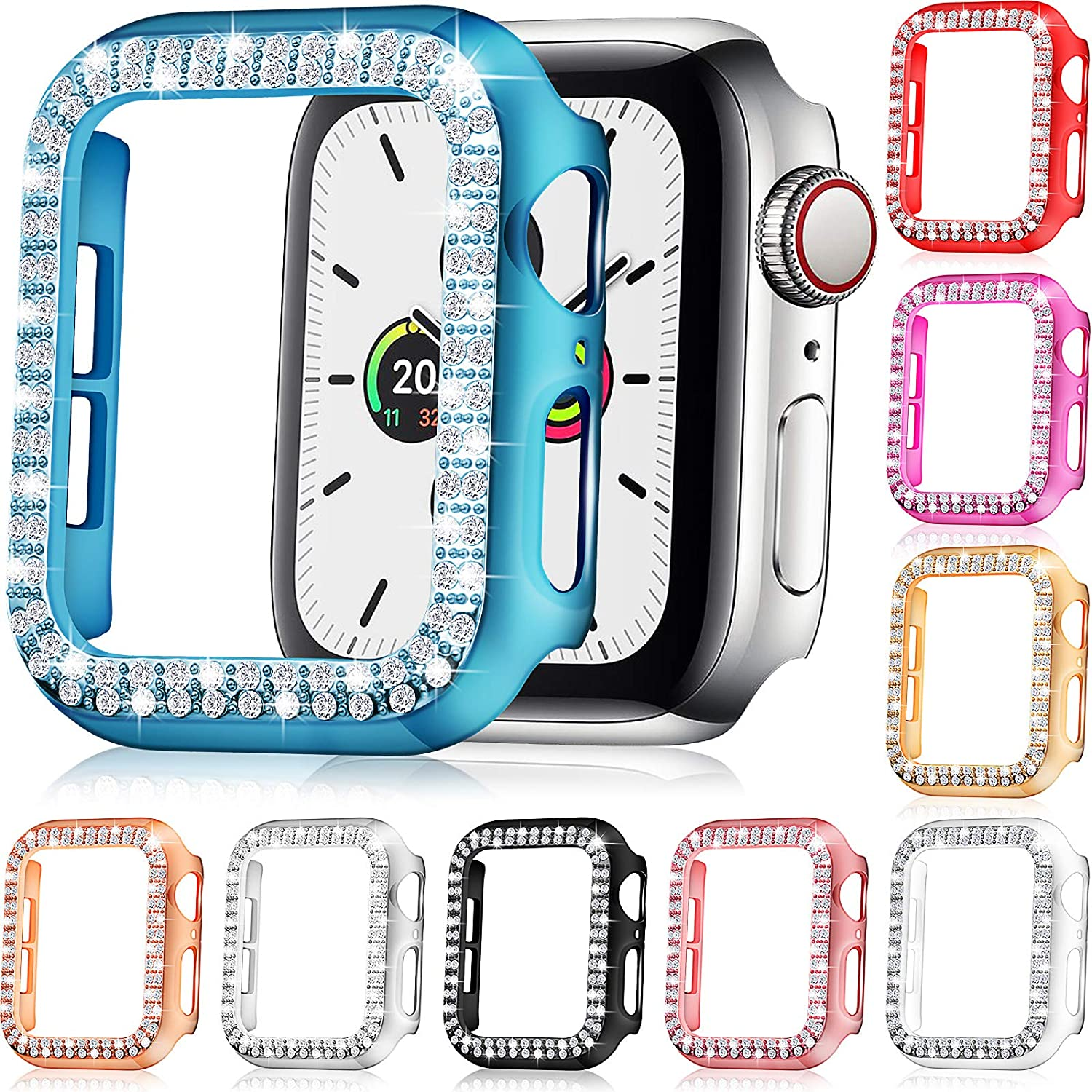 9 Pieces Watch Case Protector Compatible with Apple Watch Series 6/5/4/SE/3/2/1, Bling Crystal Diamonds Sparkle Rhinestone Watch Cover Plated Hard Frame Protective for Girl Women, 9 Colors (38 mm)