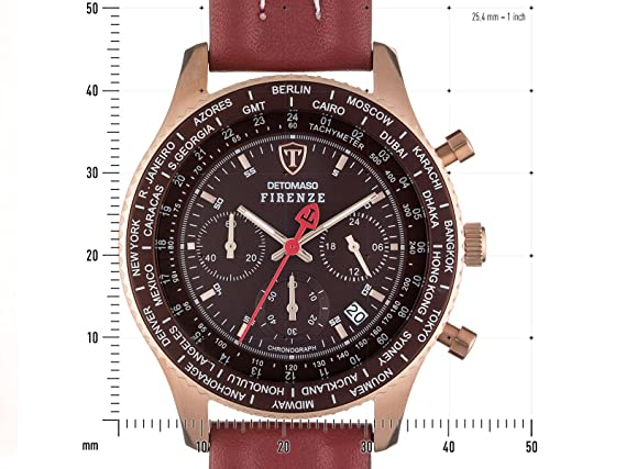 Amazon.com: DETOMASO Mens Quartz Stainless Steel and Leather Casual Watch, Color:Red (Model: SL1624C-RM): Watches