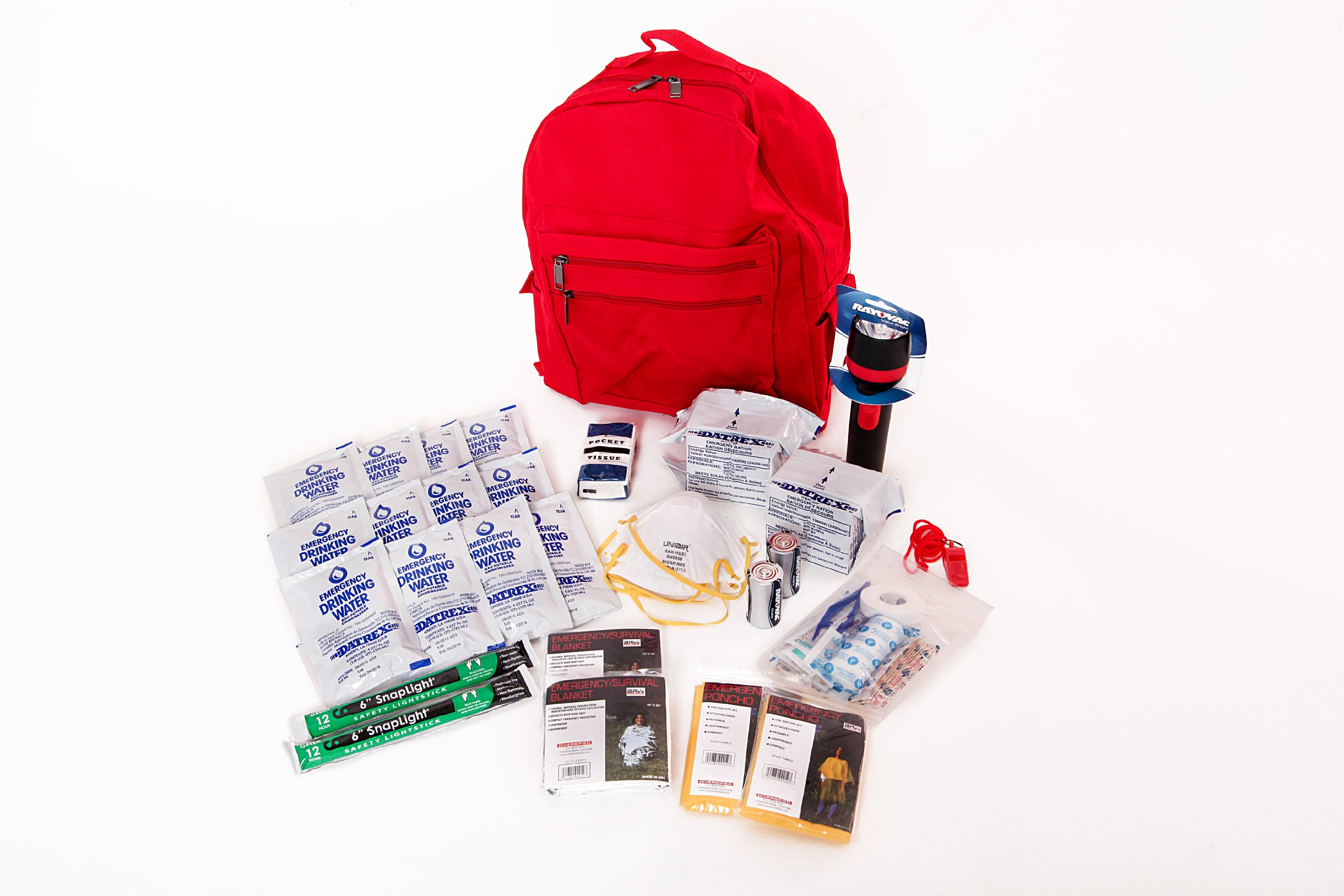 2 Person Essential Survival Kit Ideal for Earthquake, Evacuation, Emergency Disaster Preparedness 72 Hour Kits for Home, Work, or Auto: 2 Person