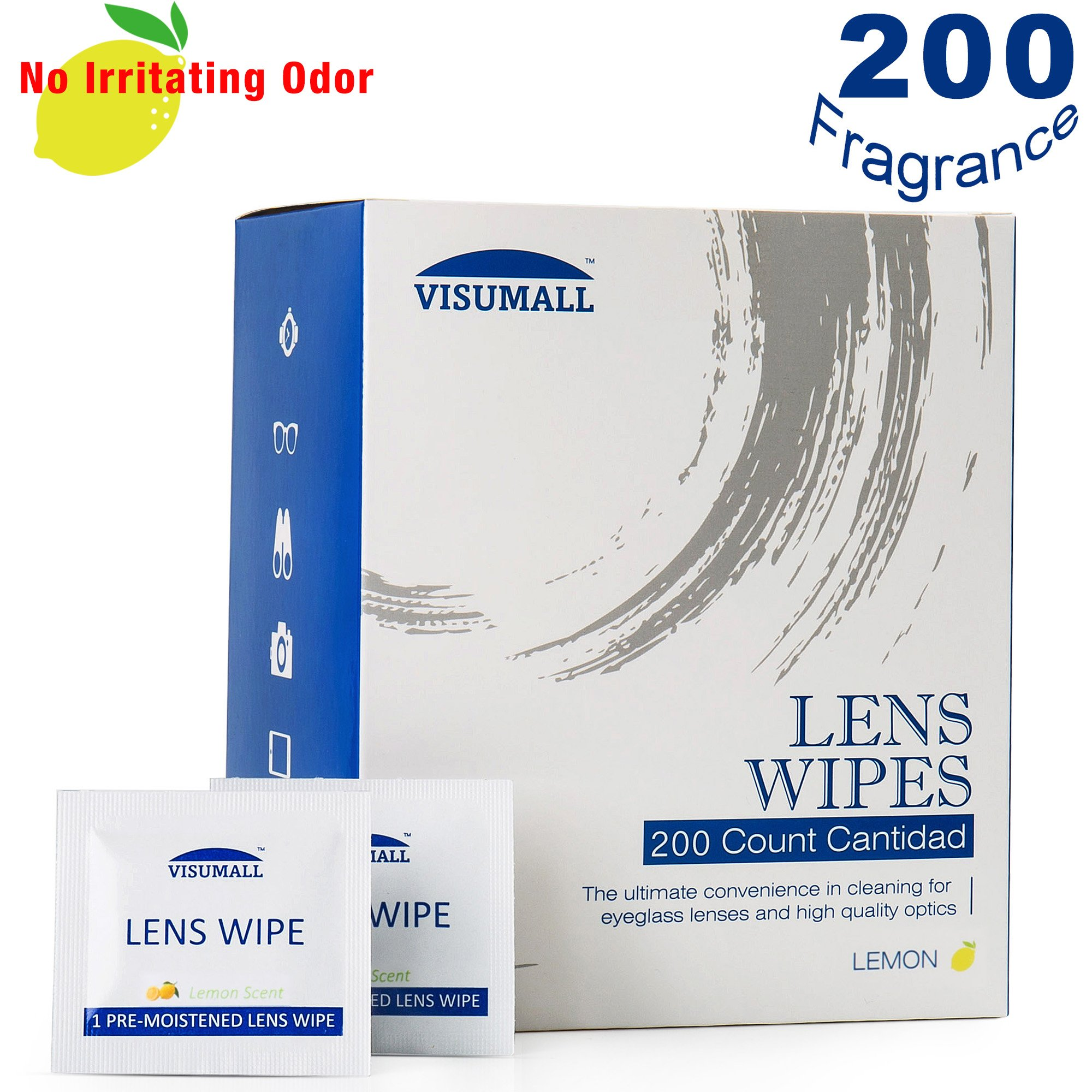 Lens Cleaning Wipes,Light Fragrance Nonirritating,Disposable,Quick Drying,Individually Wrapped,Great for Eyeglasses,Tablets,Camera Lenses,Screens,Keyboards-200 Lemon