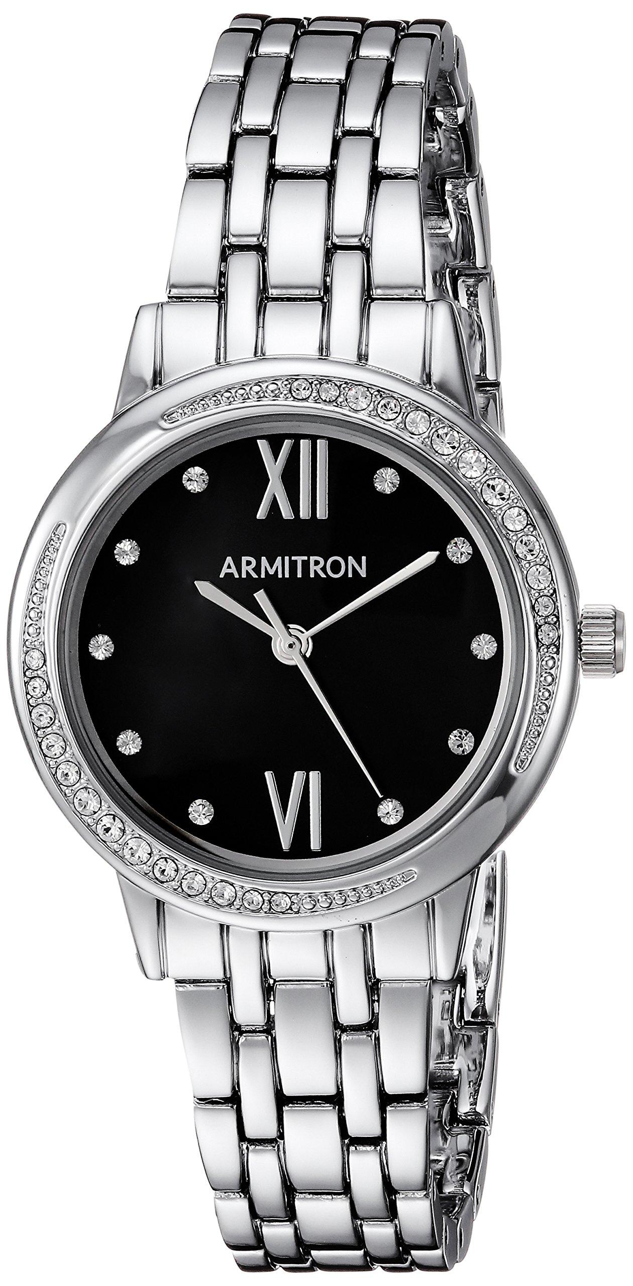 Armitron Women's 75/5516JMSV Swarovski Crystal Accented Silver-Tone Bracelet Watch
