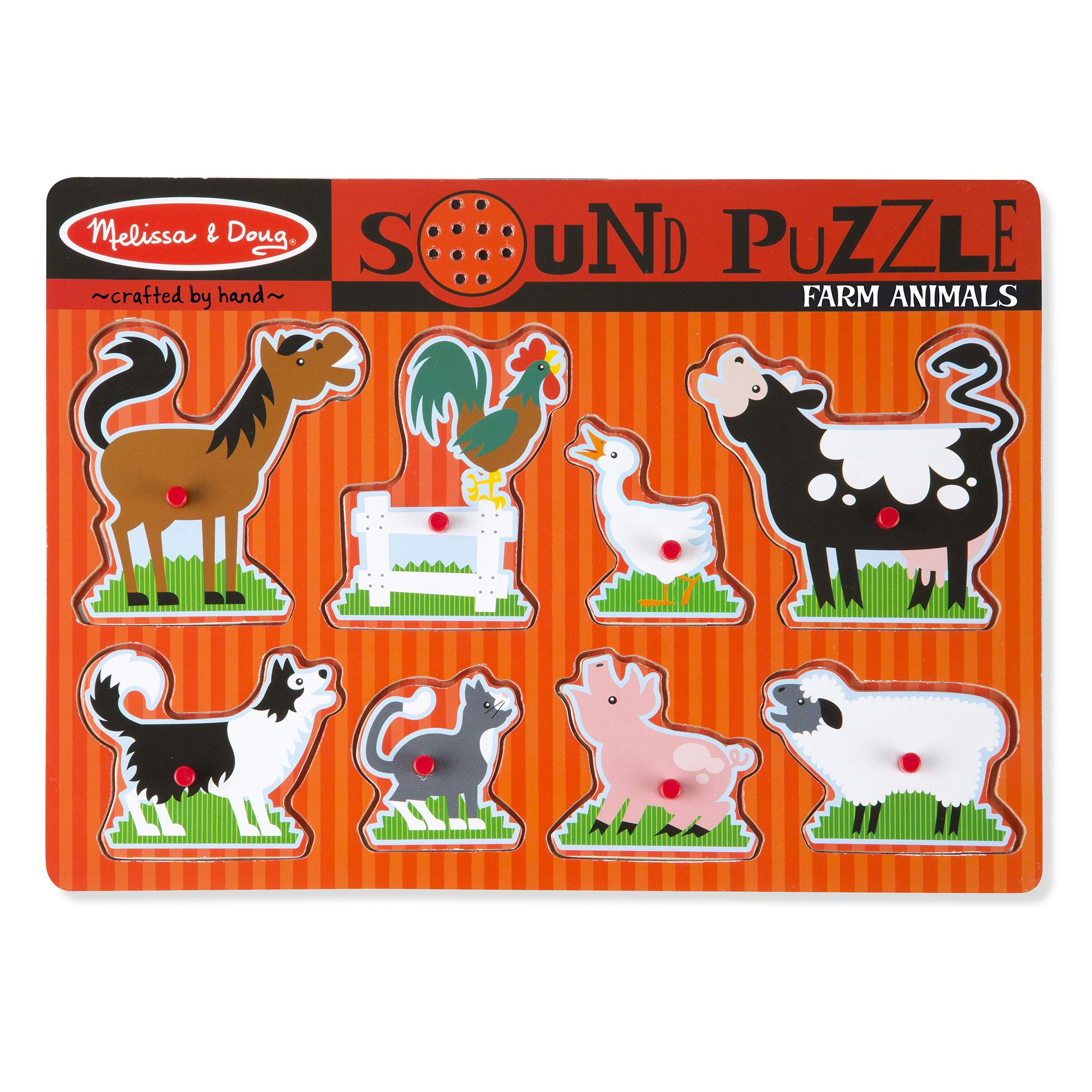 Melissa & Doug Farm Animals Sound Puzzle - Wooden Peg Puzzle With Sound Effects (8 pcs) by Melissa & Doug (Image #1)