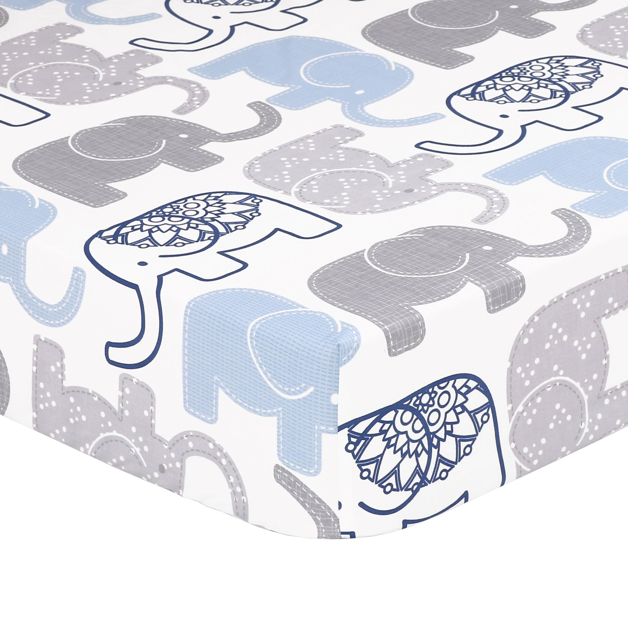 Amazon Com Navy Blue Elephant Print Fitted Crib Sheet 100