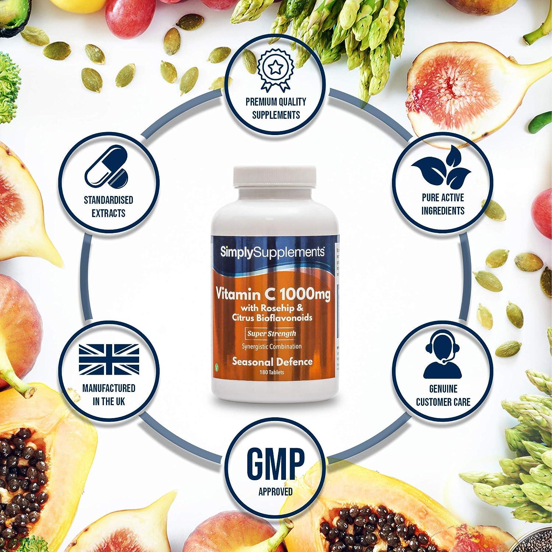 Vitamina C 1000mg con cinorrodo /& Bioflavonoidi Compresse UK AFFIDABILE MARCHIO