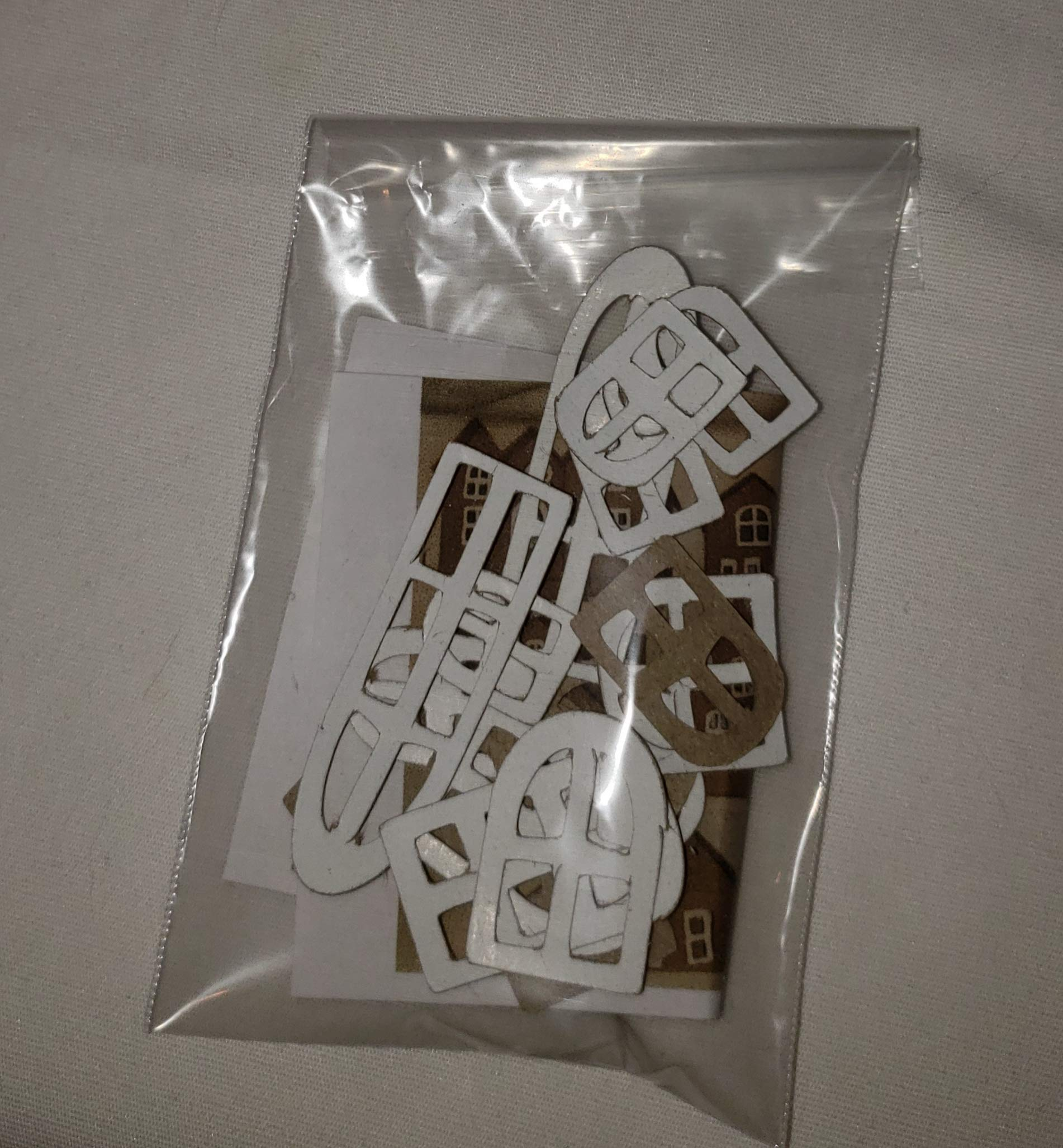 Vintage Style Putz Houses- Set of 6 Houses & 1 Church with Small Light Hole