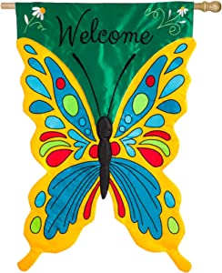 "Evergreen Flag Butterfly Shaped Welcome Flag, 28"" W x 44"" H Double-Sided Appliqué House Flag for Your Garden, Patio or Lawn"