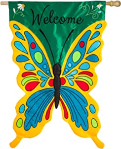 Evergreen Flag Butterfly Shaped Welcome Flag 28 W X 44 H Double Sided Appliqué House Flag For Your Garden Patio Or Lawn Garden Outdoor Amazon Com