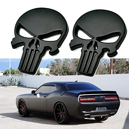 Amazoncom 2x 3d Black The Punisher Rock Skull Emblem Skeleton Car