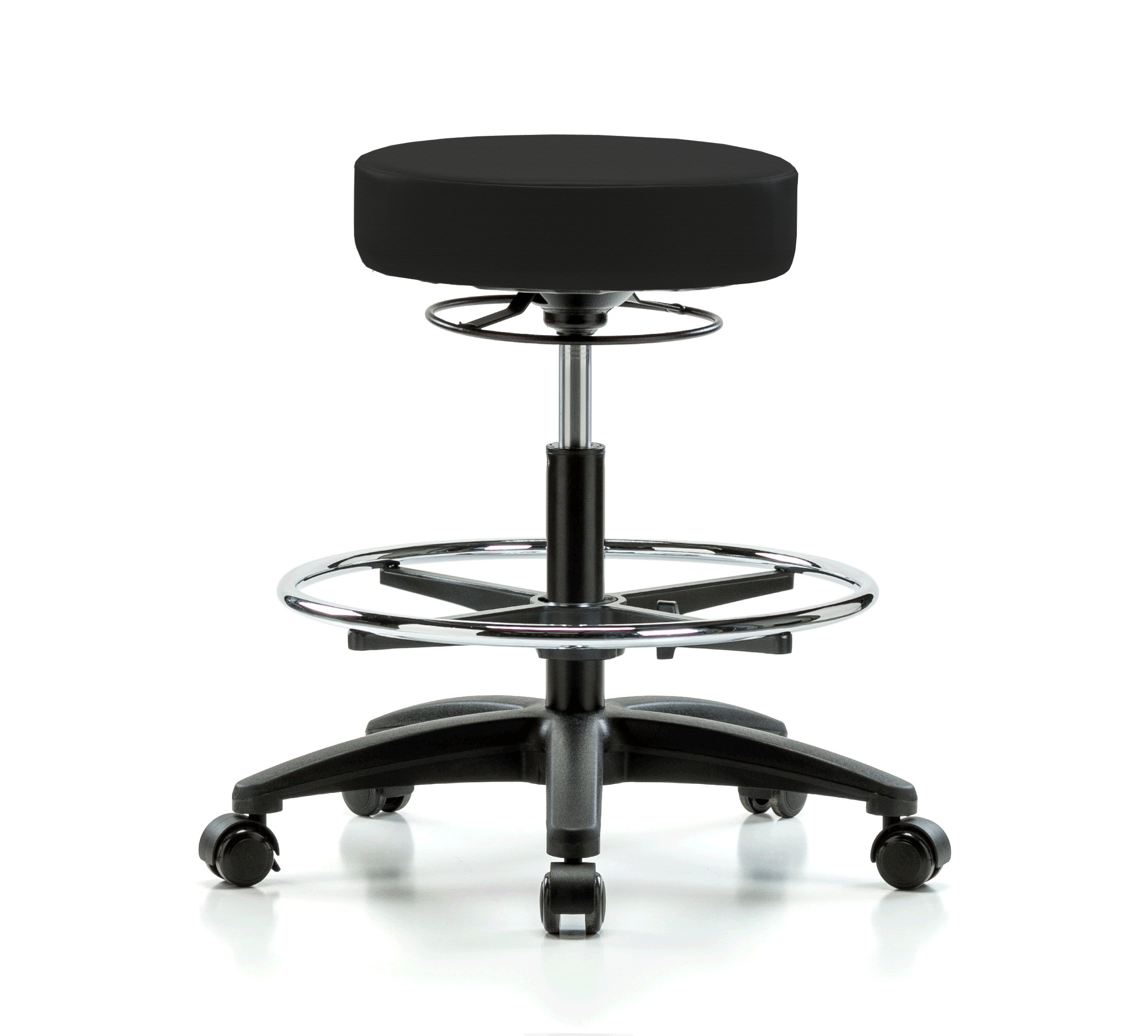 Perch Life Rolling Height Adjustable Stool with Foot Ring for Carpet or Linoleum, Workbench Height, Black Fabric