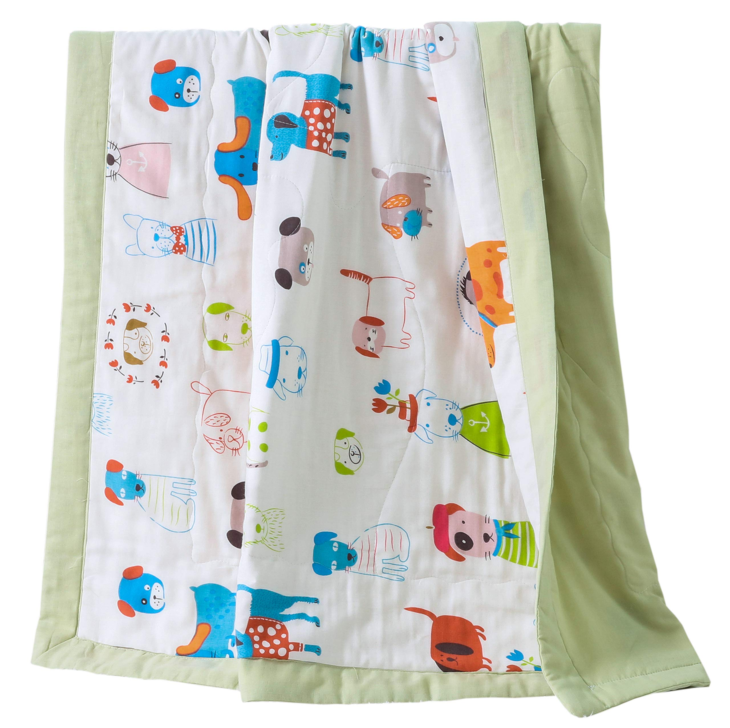 J-pinno Boys & Girls Cute Puppy Dogs Muslin Quilt Comforter Bedding Coverlet, 100% Long Staple Cotton, Throw Blanket Twin/Full for Kid's Bedroom Decoration Gift (Twin 59'' X 78'', puppy2) by J-pinno