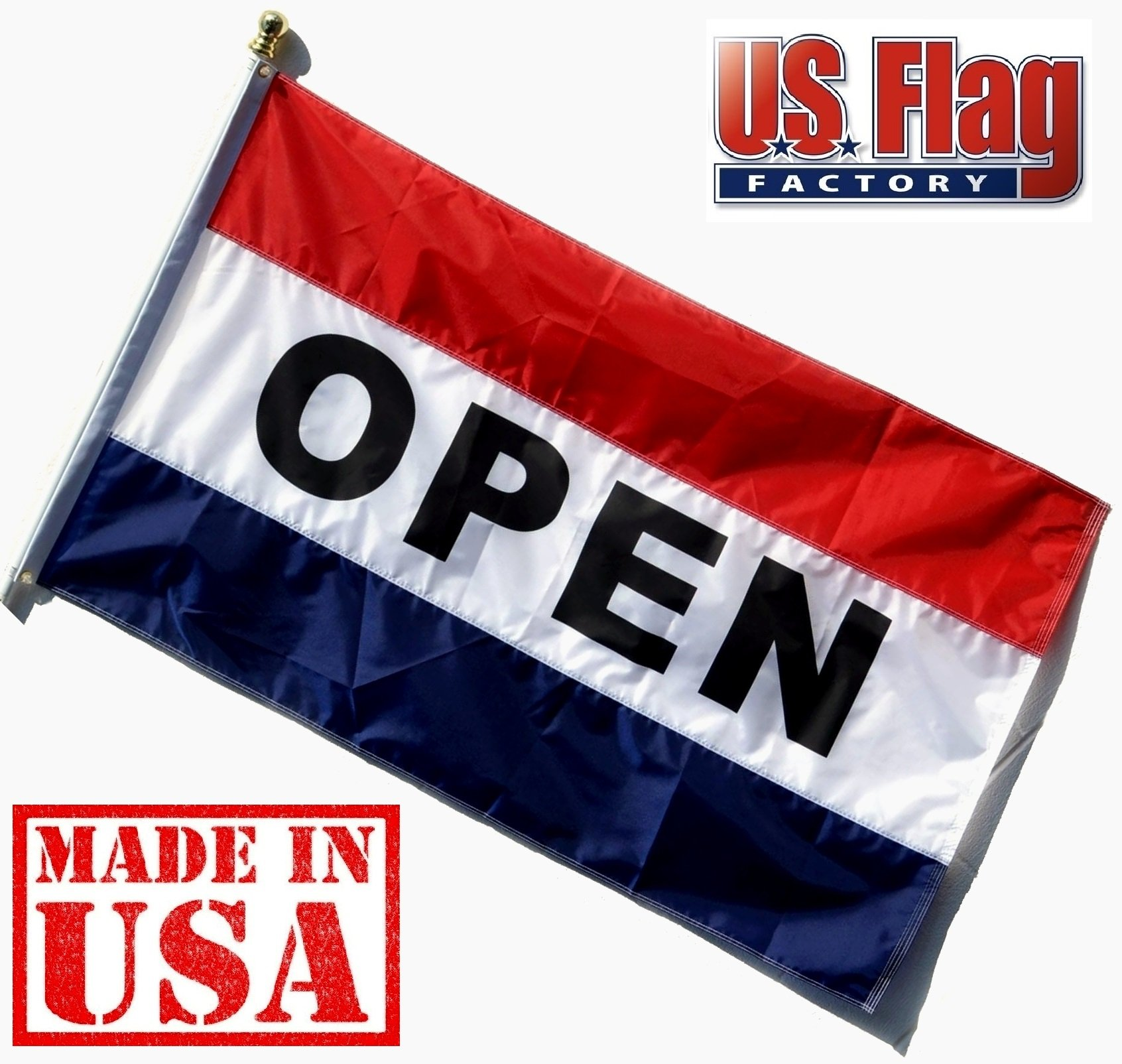 US Flag Factory - 3'x5' Nylon OPEN Flag (Sewn Stripes) Outdoor Message Flag - Commercial Grade Business OPEN Flag - UV Fade Resistant - Made in USA - Premium Quality (OPEN)