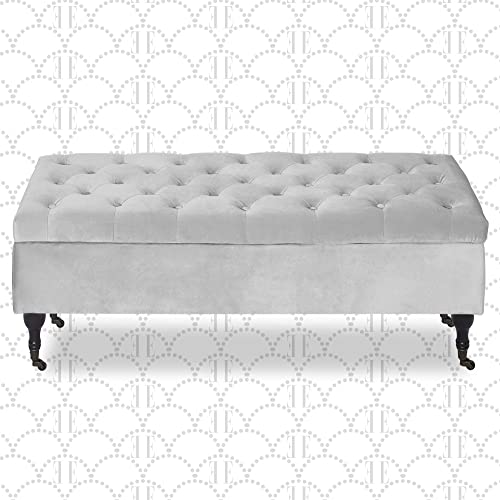 Elle Decor Collette Chic Tufted Upholstered Storage Bench Fabric Padded Ottoman