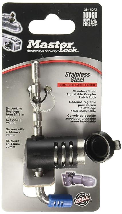 Master Lock Trailer Lock, Stainless Steel Adjustable Coupler Latch Lock, 2847DAT