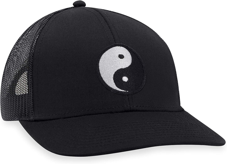 Yin Yang Hat – Ying Yang Trucker Hat Baseball Cap Snapback Golf Hat (Black)