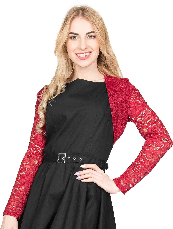 BlackButterfly Floral Lace Long Sleeve Open Bolero Evening Jacket Blouse