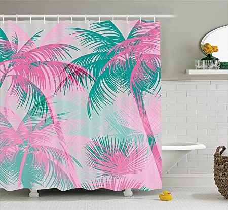 lzhsunni88 palm leaf shower curtain by beach party theme vibrant