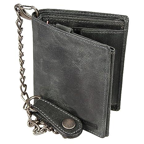 b9a5b4d25d0f8 Branco Biker Geldbörse Leder Geldbeutel mit Kette Portemonnaie aus robusten  Leder Kettenbörse im Vintage Look Bikerbörse