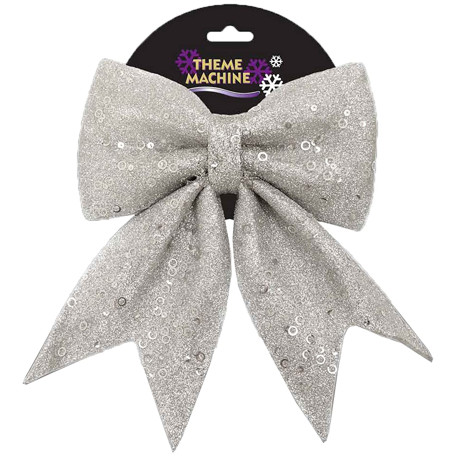 Christmas Tree Decoration 25cm Glitter & Sequin Bow - Silver Davies Products