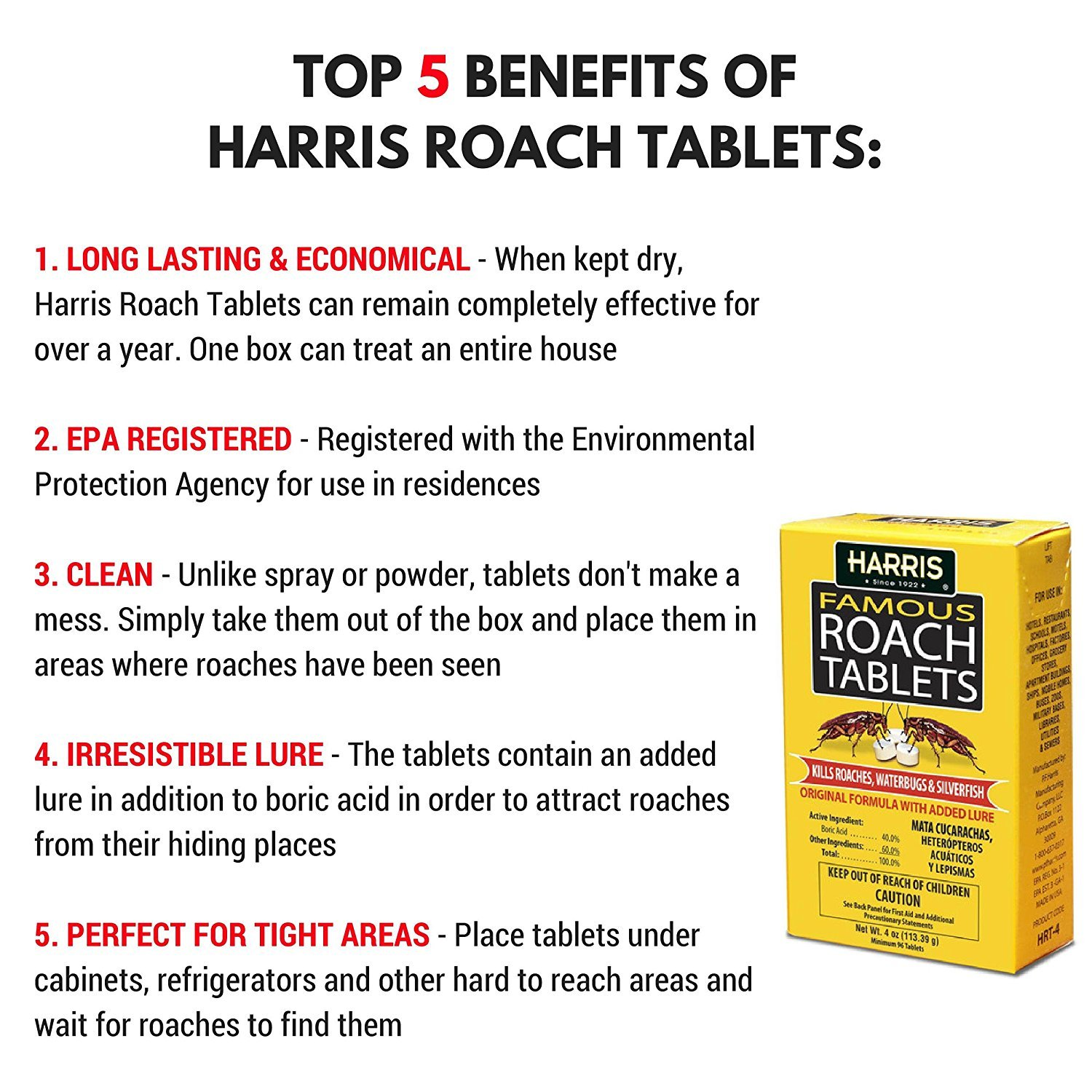 Amazon.com : Harris Famous Roach & Silverfish Killer, 4oz Tablets ...