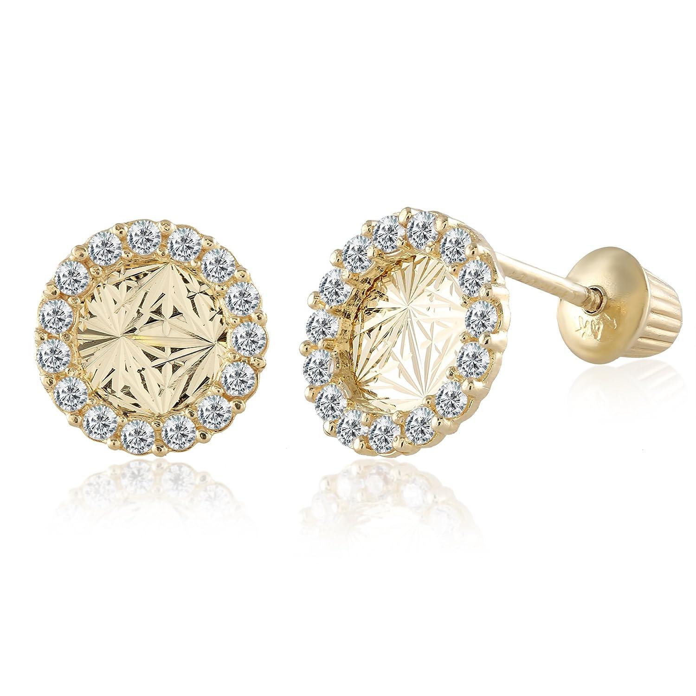 728e108ce Amazon.com: Balluccitoosi 14k Gold Tiny Stud Earrings for Women & Girls -  Real Hypoallergenic, Small & Minimalist (14k Diamond Cut Circle CZ Stud  Earrings): ...