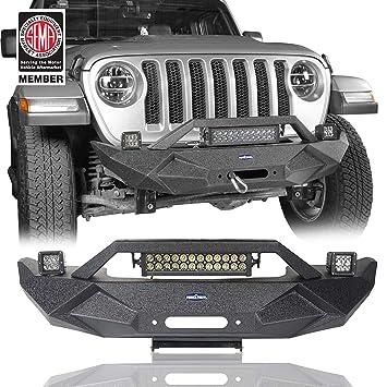 Hooke Road Steel Stubby Front Bumper W Winch Plate Fog Lights Light Bar For Jeep Wrangler Jl 2018 2019 2020