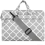 Mosiso Quatrefoil Style Fabric Laptop Sleeve Case Cover Bag with Shoulder Strap for 14 Inch Notebook Computer Ultrabook, Gray