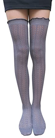 8a56fc12b9f AM Landen®Cotton Over Knee Thigh High Knit Socks Stockings(GRAY Superior)