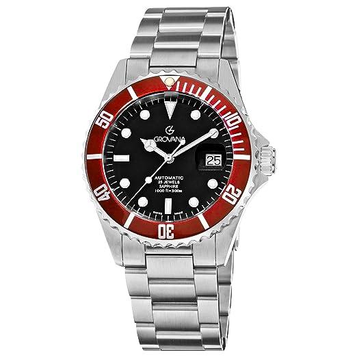 Grovana Diver Automatic 1571.2136 - Reloj de caballero automático, correa de acero inoxidable color plata: Amazon.es: Relojes