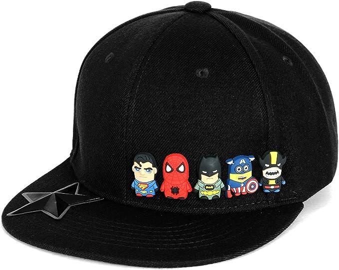 ililily Cute Superheroes Rubber Charms Flat Bill Snapback Hat ...