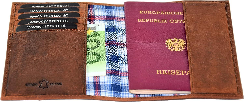 Bourse de Cuir /étui de Cuir v/éritable /étui /à Passeport Portefeuille /étui Etui /à Passeport MENZO /étui de Cuir