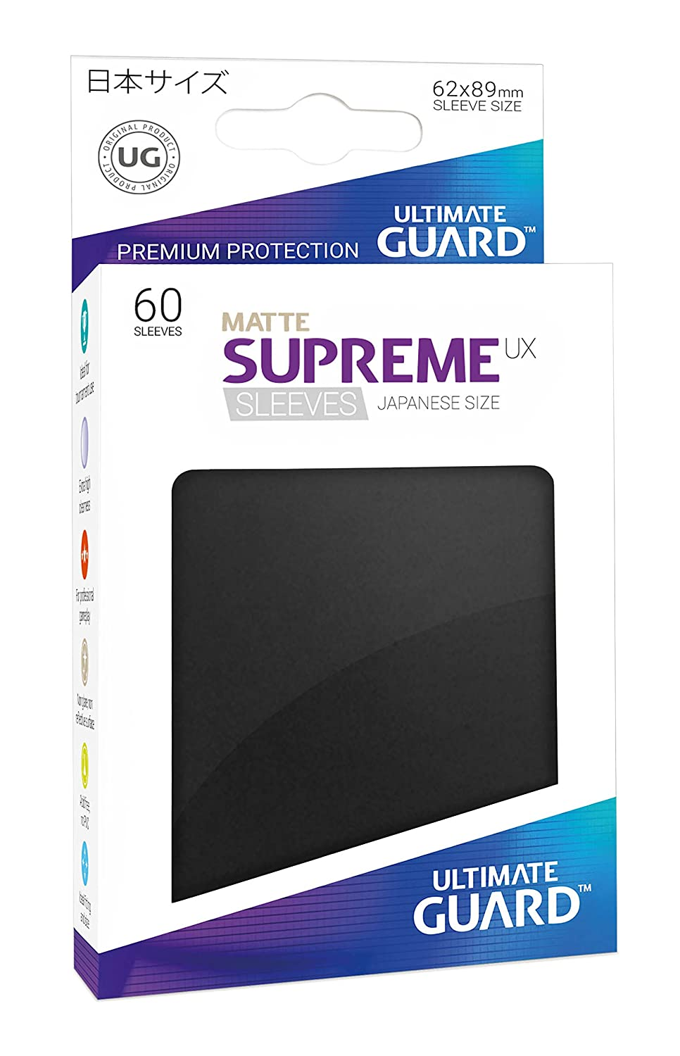 Ultimate Guard SUPREME UX Japanese Size Card Sleeves DARK GRAY 60 GREY