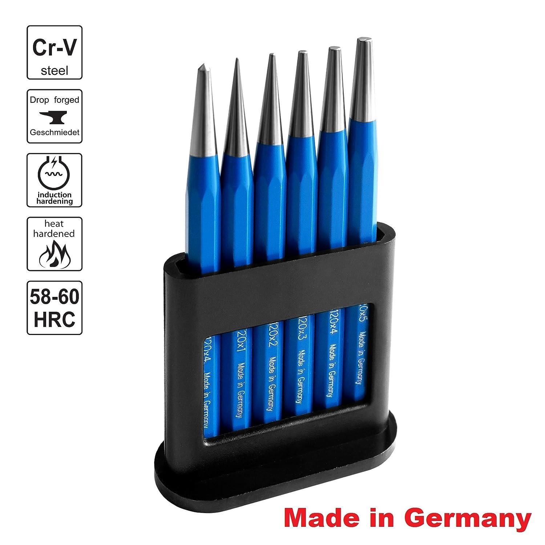 S&R Batidores Có nicos MADE IN GERMANY Juego de 6 Batidores: 1, 2, 3, 4, 5 mm + 1 Punzó n Ø 4 mm en acero cromo vanadio HRC 53-60 5 mm + 1 Punzón Ø4 mm en acero cromo vanadio HRC 53-60 S&R Industriewerkzeuge GmbH
