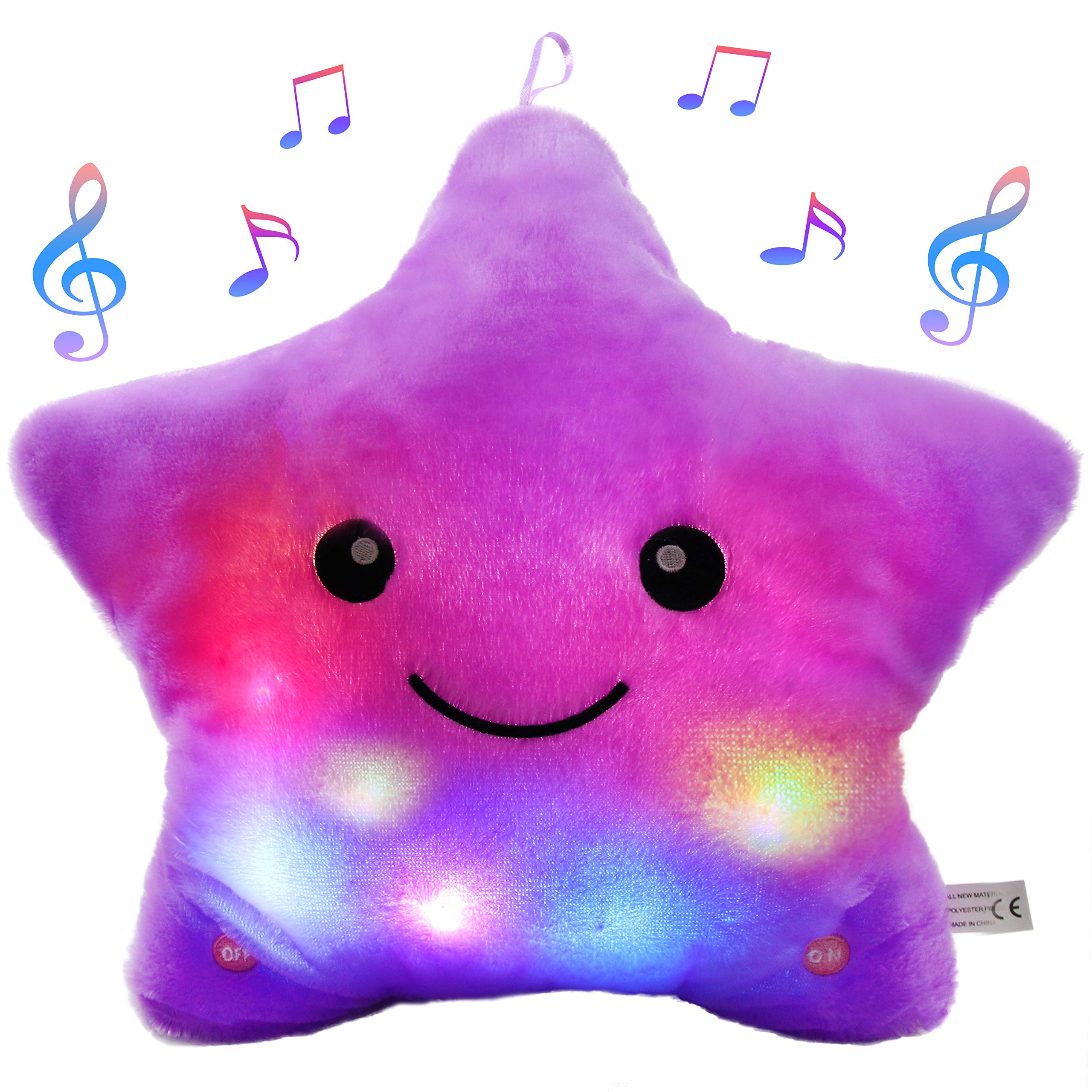 Bstaofy LED Musical Twinkle Star Glow Lullaby Nightlight Stuffed Toys Animated Afraid of Dark Singing Gift for Toddlers, Purple by Bstaofy