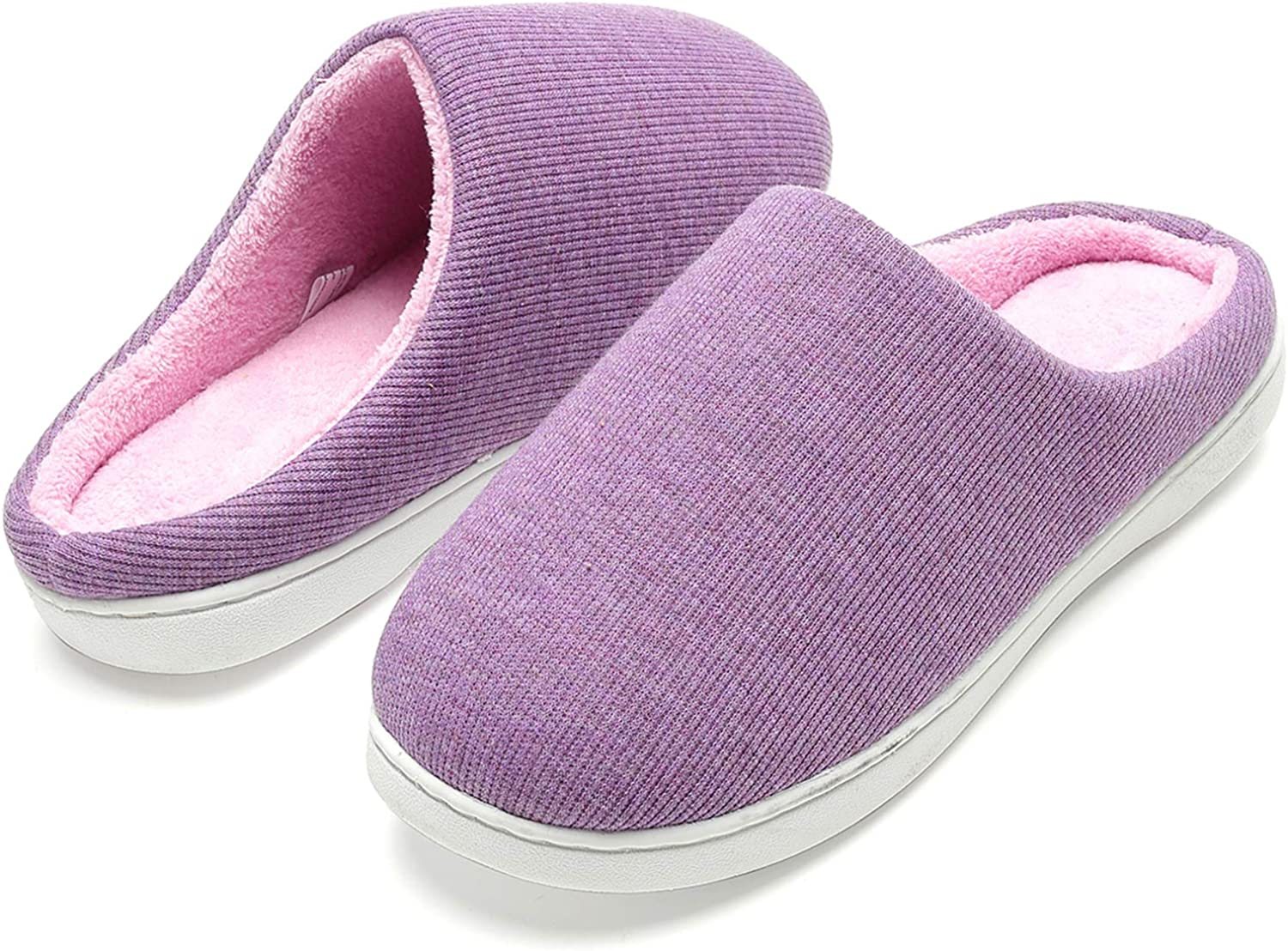 Slippers for Women, Memory Foam Two-Tone Non-Slip Fuzzy House Slippers Cozy Slip On Bedroom House Shoes for Indoor Outdoor