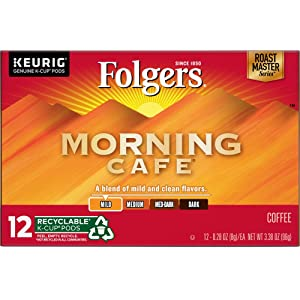 Folgers K Cups Morning Cafe Coffee for Keurig Makers, Mild Roast, 72 Count