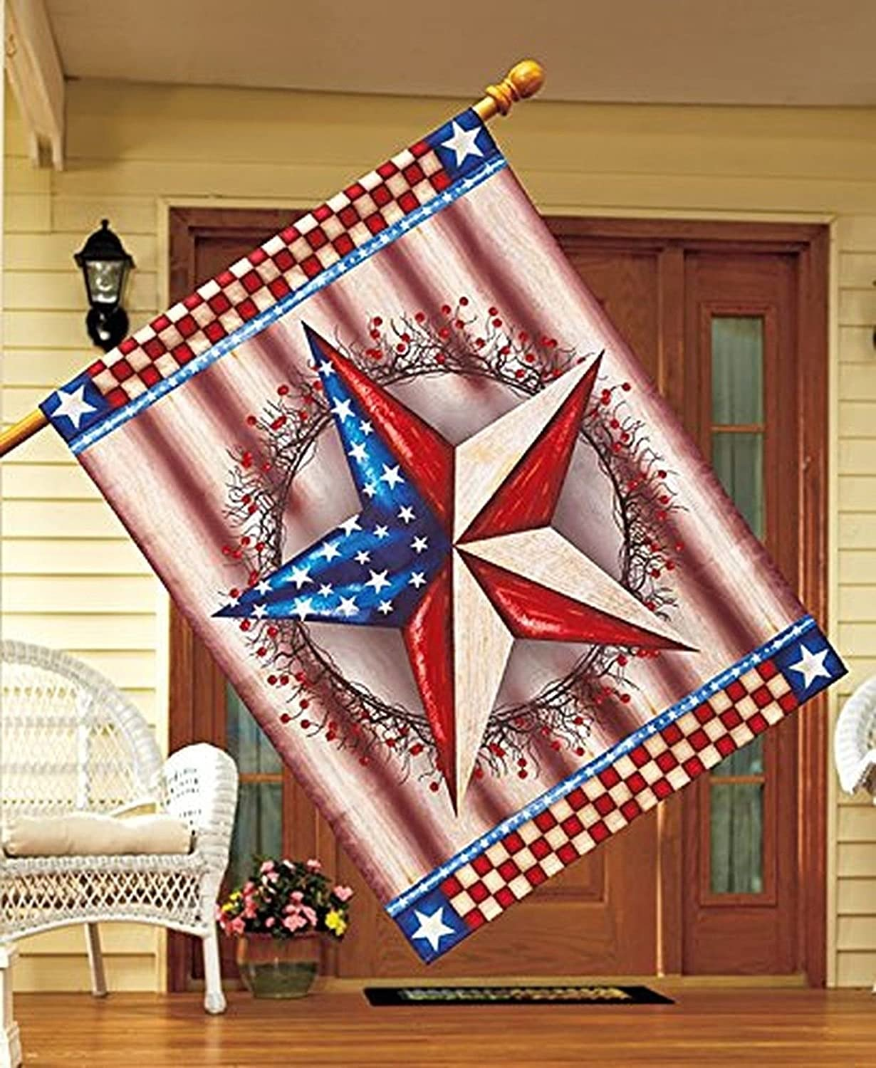 EVERGREEN PATRIOTIC GARDEN LARGE HOUSE FLAG free shipping
