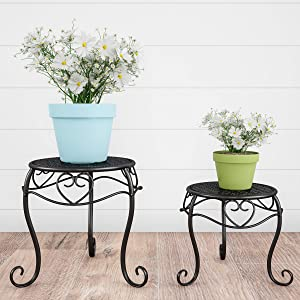 Pure Garden 50-LG1150 Stands – Set of 2 Indoor or Outdoor Nesting Wrought Iron Inspired Metal Round Decorative Potted Plant Display Accessories (Black)