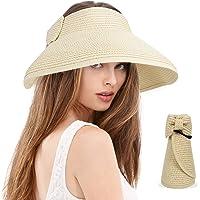 BLURBE Grande Mujer Sombrero de Paja de Visera Plegable - Sombreros de Verano con Lazo para la Playa de Sol,para Hacer…