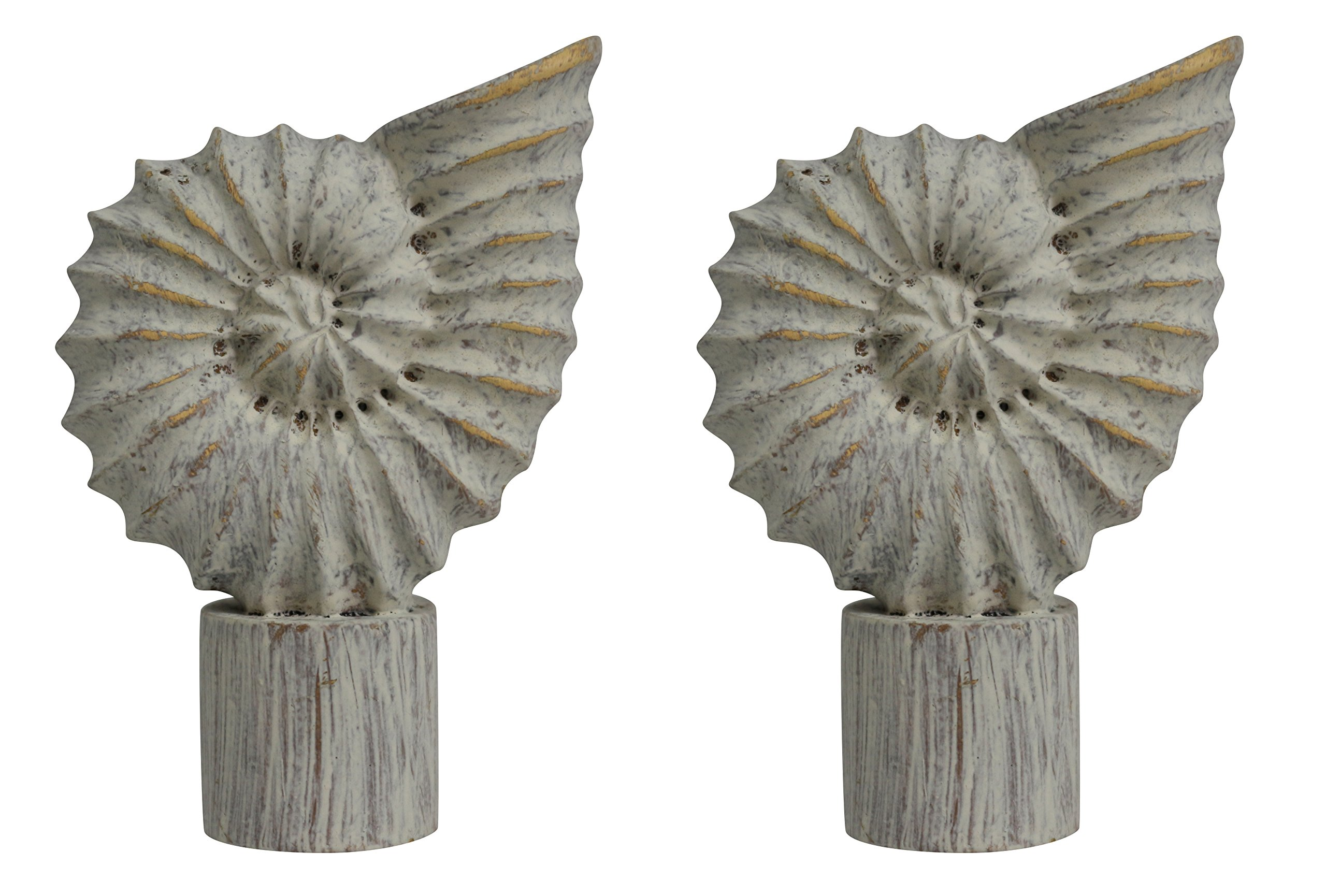 Urbanest Set of 2 Seashell Finial, 2 5/8-inch Tall, Weathered White