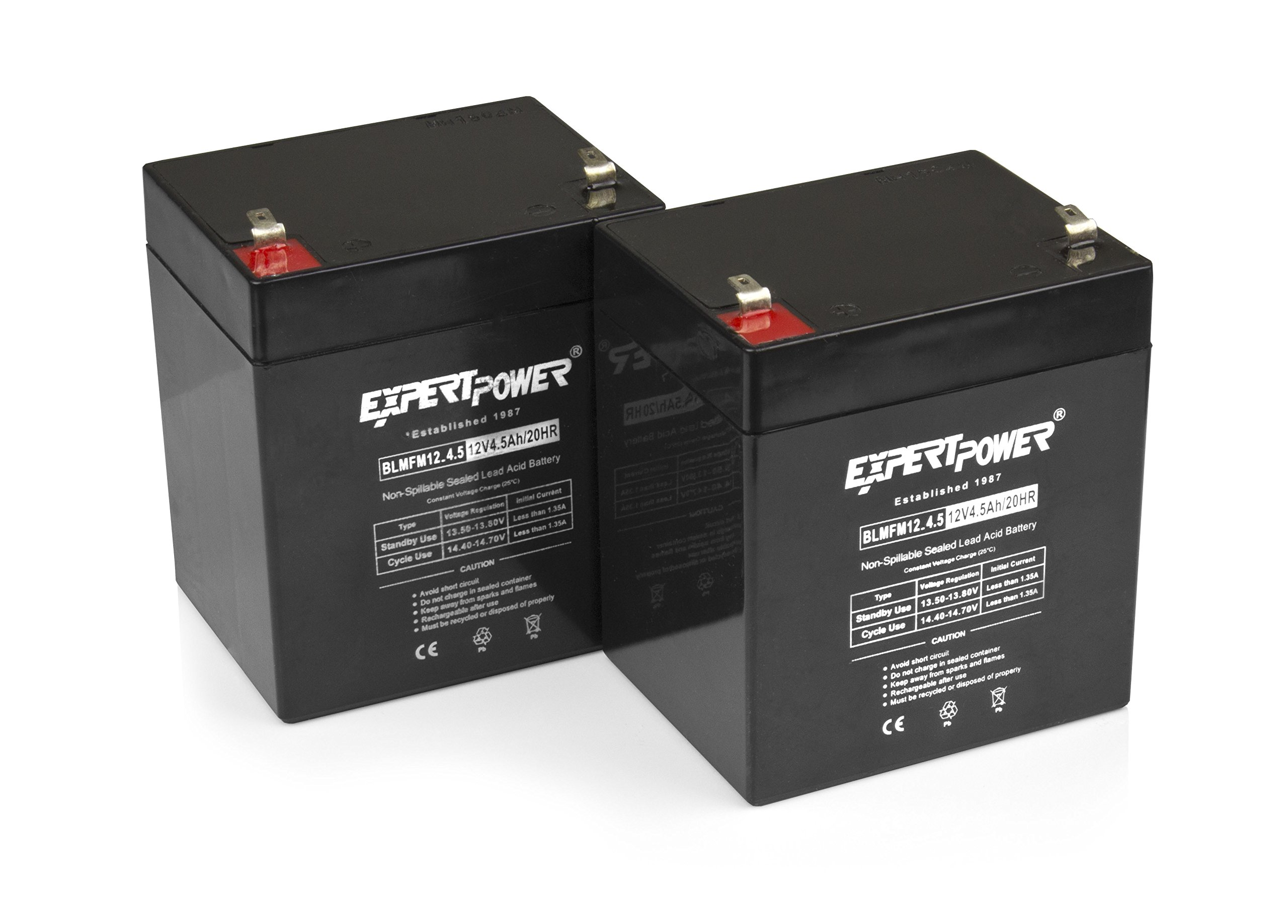 ExpertPower 12V 4.5AH Sealed Lead Acid (SLA) Battery - F1 Terminal/2 Pack by ExpertPower