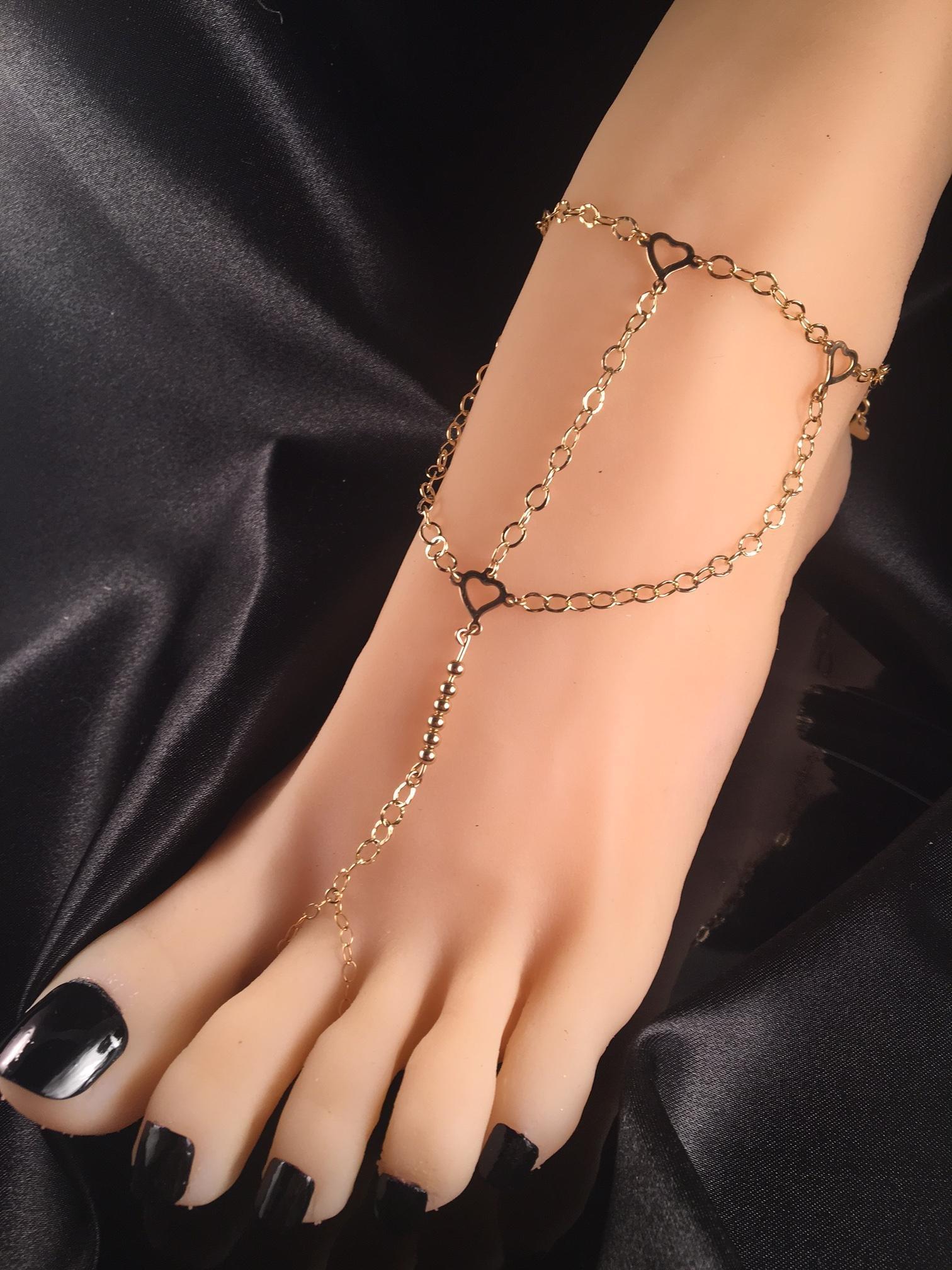 Slave bracelet Anklet Gold chain Harness