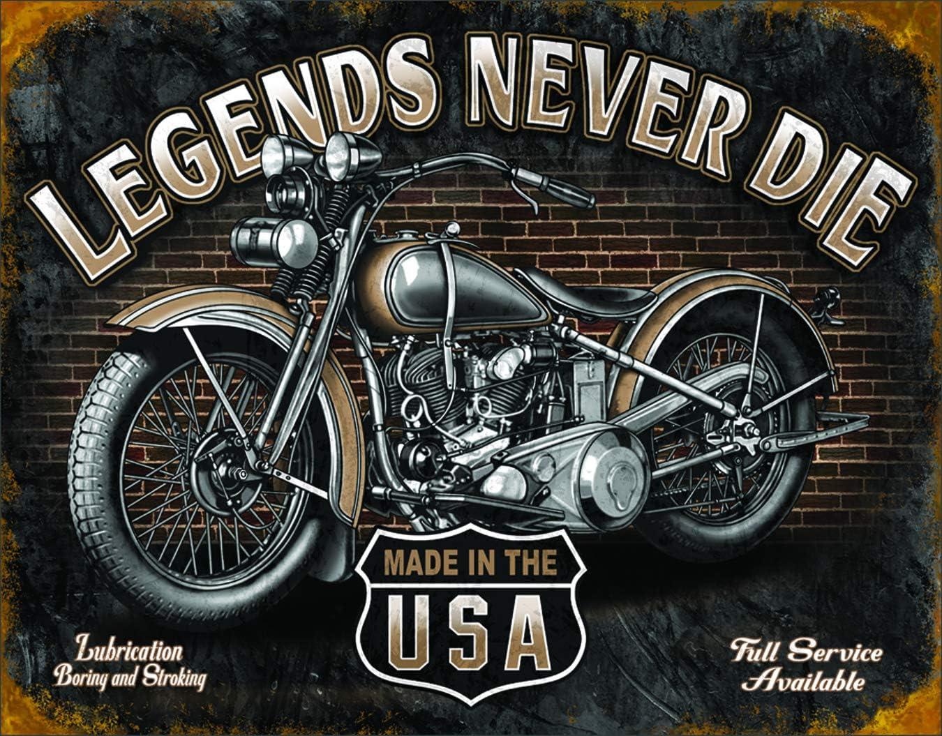 Desperate Enterprises Legends Never Die Biker Tin Sign Flat New 31X40cm S2177