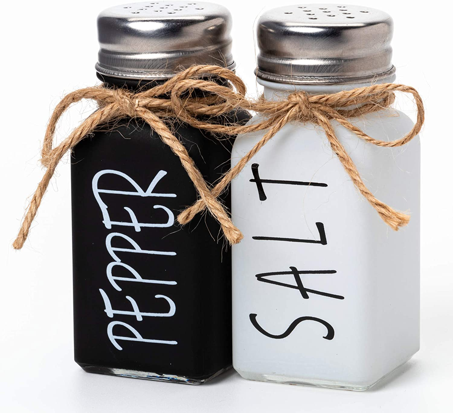 UrbanVillage Farmhouse Salt and Pepper Shakers Set - Cute Christmas Kitchen Counter Accessories - Mini Black White Shaker Seasoning Jars with Lids Rustic Decor for Dinnerware or Country Style Wedding