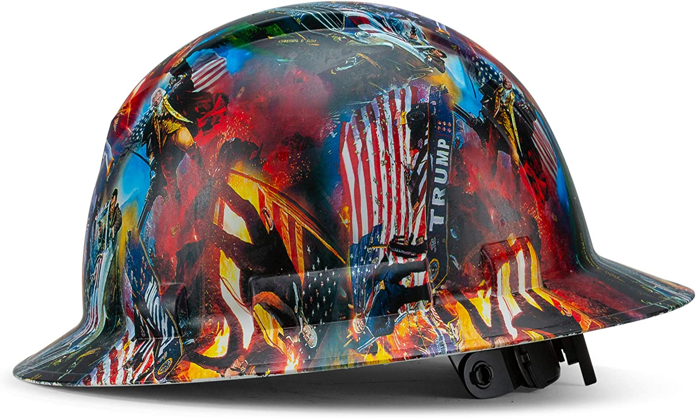 Full Brim Pyramex Hard Hat, President Trump MAGA Design Safety Helmet 6Pt, By Acerpal