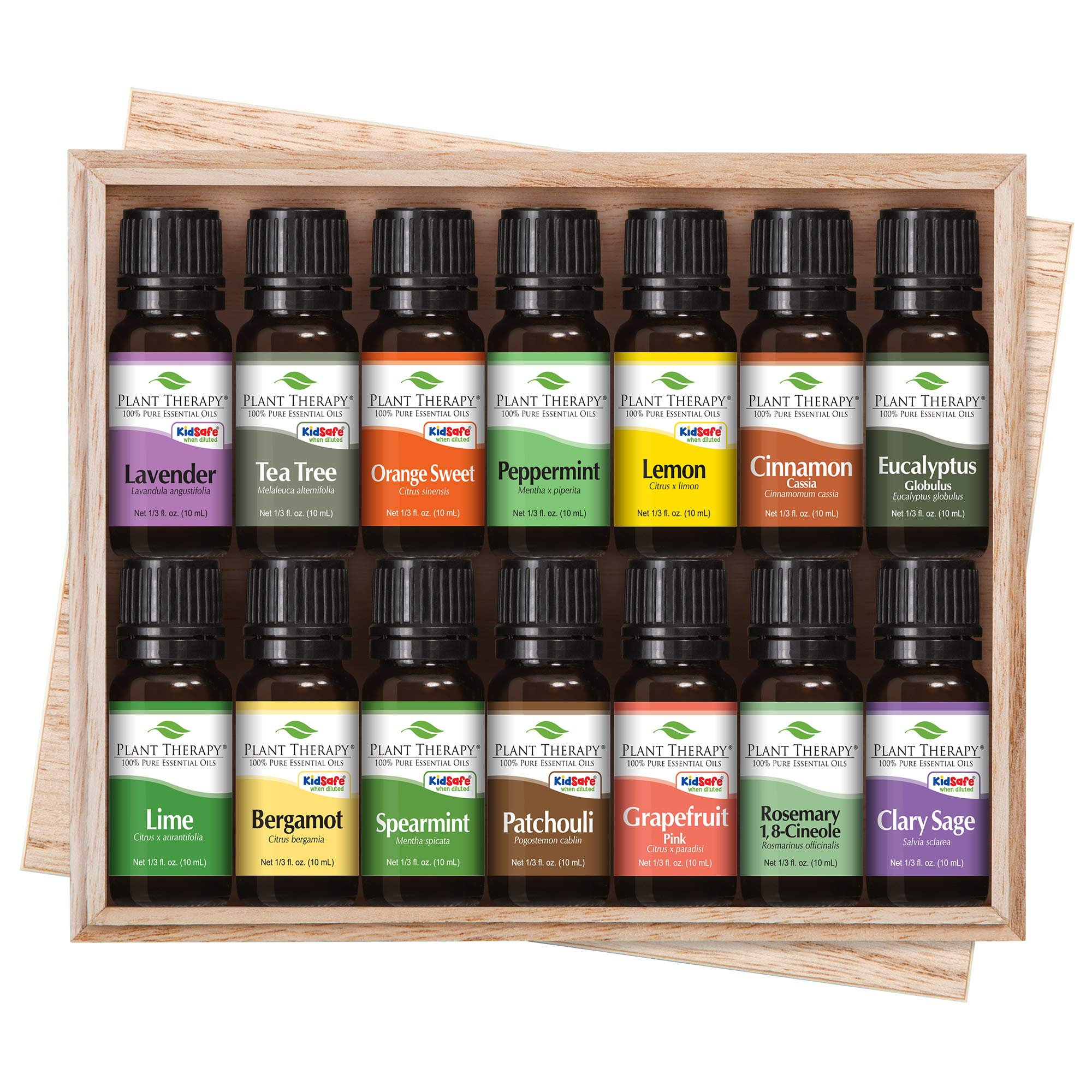 Plant Therapy Top 14 Singles Set | Lavender, Eucalyptus, Peppermint, Orange Sweet, Lemon & More in A Wooden Box | 100% Pure, Undiluted, Natural Aromatherapy, Therapeutic Grade | 10 mL (1/3 oz) by Plant Therapy