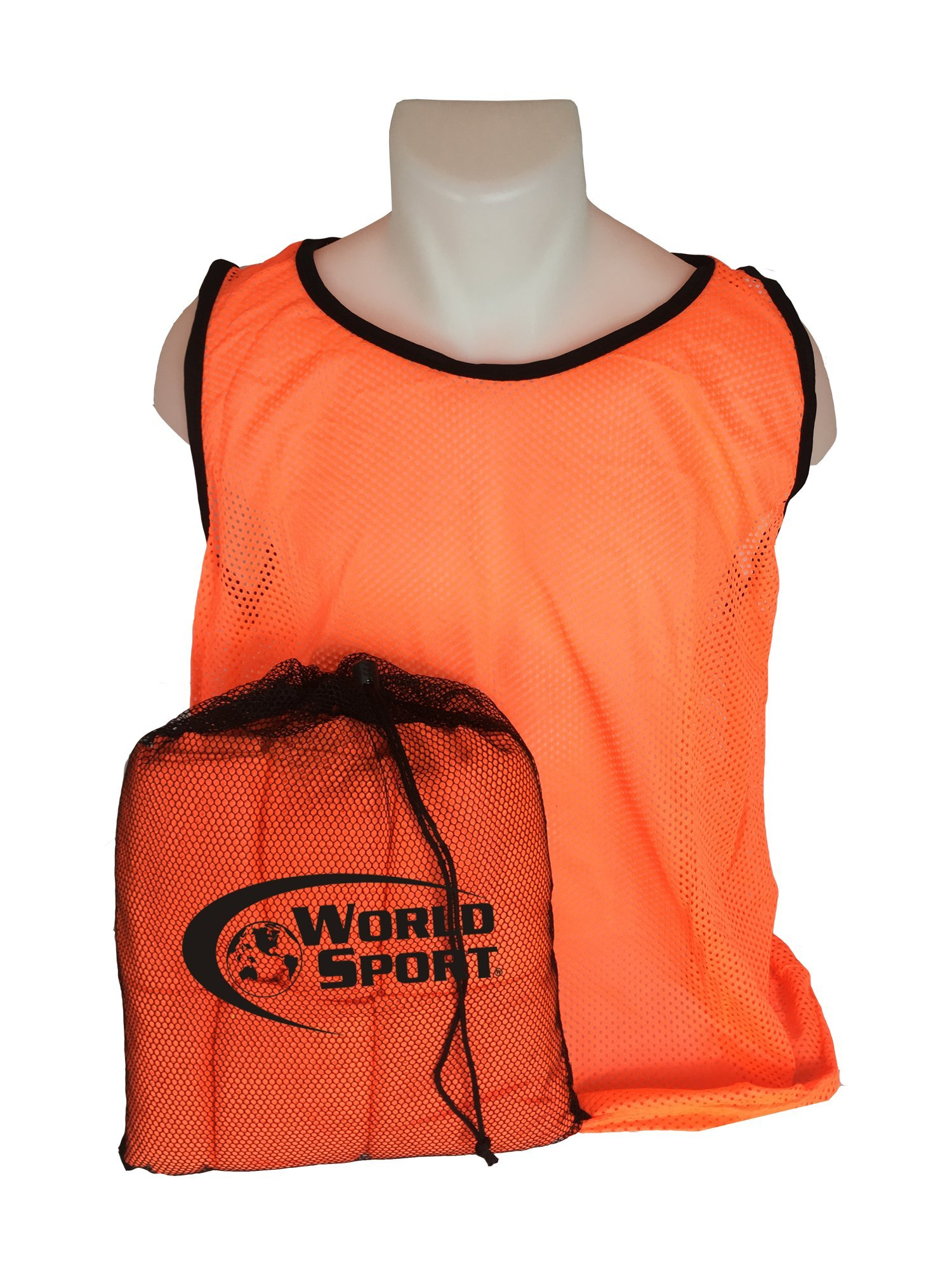 12 Pack Adult ORANGE Scrimmage Vests with Carry Bag by World Sport